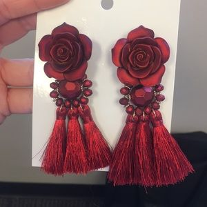 H&M Red Chunky Statement Earrings - NEVER WORN